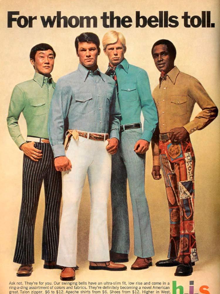 moda masculina anos 70 - calça boca de sino