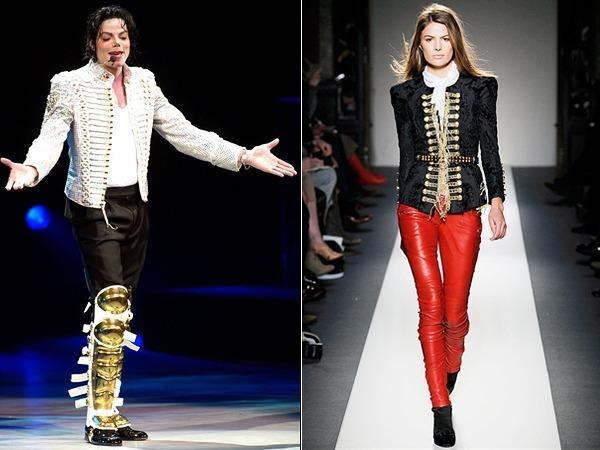 O ícone pop Michael Jackson e uma das roupas do desfile da Balmain outono/inverno