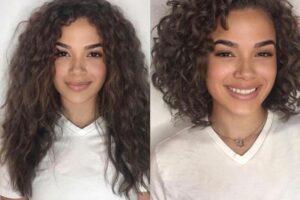 Antes e depois da transição do cabelo caheado